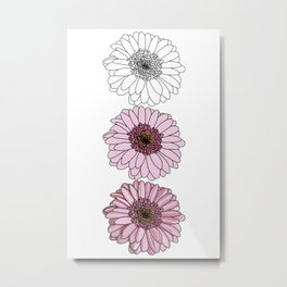 Three Gerbera Flowers Metal Print