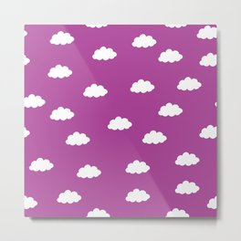 White clouds in purple pink background Metal Print
