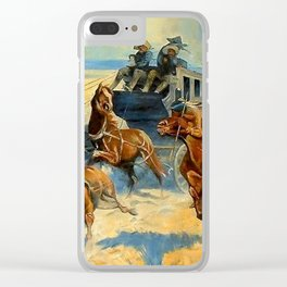 """Frederic Remington Western Art """"Downing the Nigh Leader"""" Clear iPhone Case"""