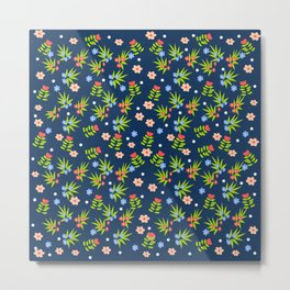 Stamped flowers with blue background Metal Print