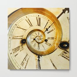 Traditional antique clock face with Roman numerals shown in conceptual and twisted abstract shape Metal Print