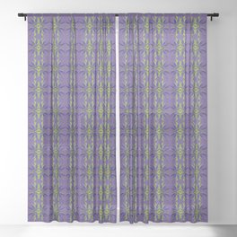 Marijuana Leaves Ultra Violet Pattern Sheer Curtain