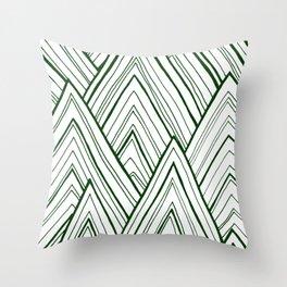 Stripe Mountains - Dark Green Throw Pillow