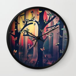 The Woods at Sunset Wall Clock