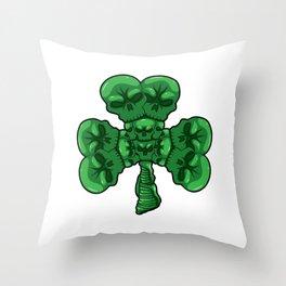Cloverleaf Skull - St. Patrick's Day Luck Throw Pillow