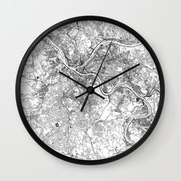 Pittsburgh White Map Wall Clock