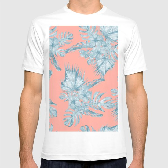 Dreaming Of Hawaii Pale Teal Blue On Coral Pink T-shirt By
