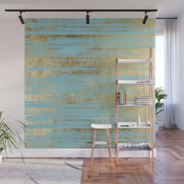Chic Gold Brushstrokes on Island Paradise Blue Wall Mural