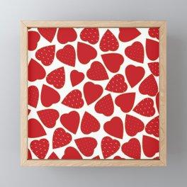 Romantic red white gold floral valentine hearts Framed Mini Art Print