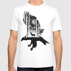 THE EAGLE AND THE DEER Mens Fitted Tee LARGE White