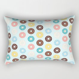 Donuts — Blue Background Rectangular Pillow