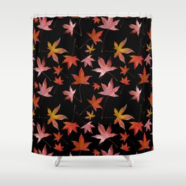 Dead Leaves over Black Shower Curtain
