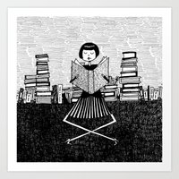 bookworm Art Prints featuring Bookworm by kate gabrielle