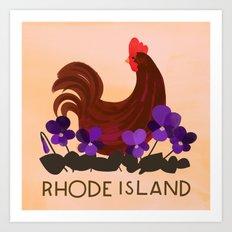 Rhode Island State Bird and Flower Art Print