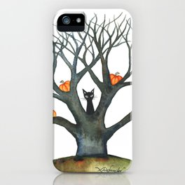 Halloween Black Cat and Pumpkins in Tree iPhone Case