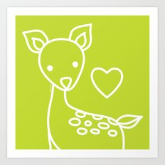 Green Deer Art Print