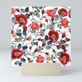 Beautiful vector pattern with red rose flowers in vintage watercolor realistic style Mini Art Print