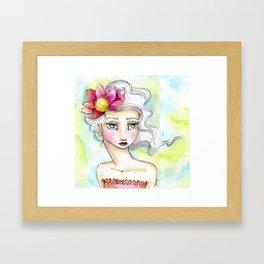 Lotus Flower Girl Framed Art Print