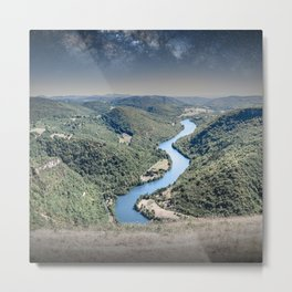 Rolling landscape countryside Ain river by starry sky by night Metal Print
