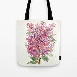 Pink Lilacs Floral Watercolor Garden Flower Nature Art Tote Bag