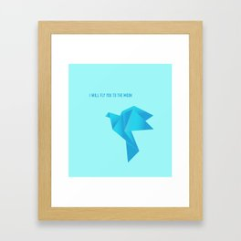 Fly Me to the Moon - Origami Blue Bird Framed Art Print