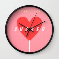 charli xcx Wall Clocks featuring SUCKER / Charli XCX by Justified