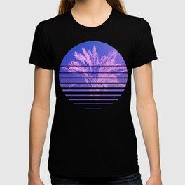 Aesthetic Retro 80s Sunset beach Palm Tree graphic Gift T-shirt