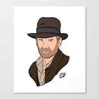 indiana jones Canvas Prints featuring Indiana Jones by Rachel Barrett