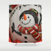 globe Shower Curtains featuring Frosty Globe by IowaShots