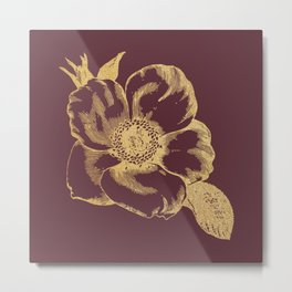 Gold flower on tawny port Metal Print