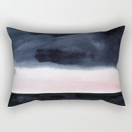 Watercolor blue sea on a background of thunderclouds Rectangular Pillow