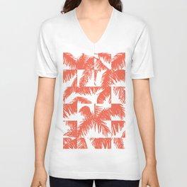 Palm Leaf Pattern Orange Unisex V-Neck
