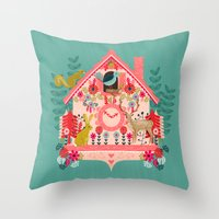 valentines Throw Pillows featuring I'm Cuckoo For You - Valentines Cuckoo Clock  by Andrea Lauren Design