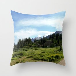 Turnoff to 12,840-foot Black Bear Pass - A Frightening and Dangerous Road Throw Pillow