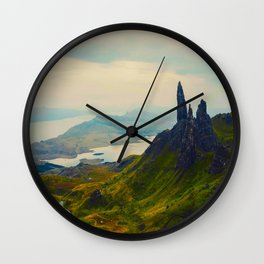 Mid Century Modern Round Circle Photo Magical Landscape Volcanic Mountains Rolling Green Hills Wall Clock