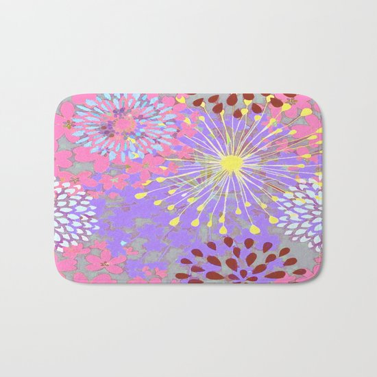 Floral Explosion Abstract Bath Mat