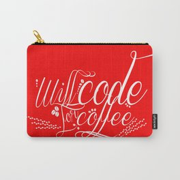 Will Code for Coffee - Red Carry-All Pouch