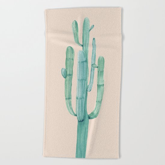 Solo Cactus Mint on Coral Pink Beach Towel