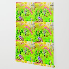 Abstract Spring Flowers Bleeding Hearts and Virginia Bluebells Wallpaper