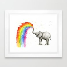 Baby Elephant Spraying Rainbow Whimsical Animals Framed Art Print