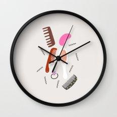 MARI's hair brush collection, girly illustration, beauty art print Wall Clock