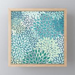 Christmas, Floral Prints, Teal, Blue and Green, Colour Prints Framed Mini Art Print