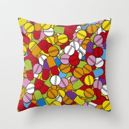 Colorful Pills Modern Medical Graphic Art Illustration Throw Pillow