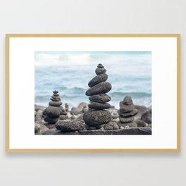 Chorten Rocks on Beach Framed Art Print