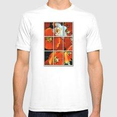 Orange and White Flowers Mens Fitted Tee White MEDIUM