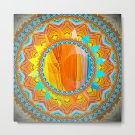 Moon and Sun Mandala Design Metal Print
