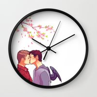 cherry blossoms Wall Clocks featuring Cherry Blossoms by brightfallenstars