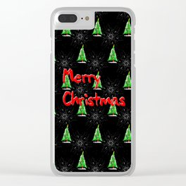Merry Christmas Pattern Clear iPhone Case