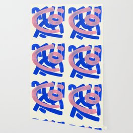 Tribal Pink Blue Fun Colorful Mid Century Modern Abstract Painting Shapes Pattern Wallpaper
