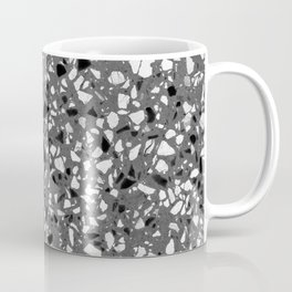 Dark Grey Monochrome Speckles Terrazzo Pattern Stone Effect Coffee Mug